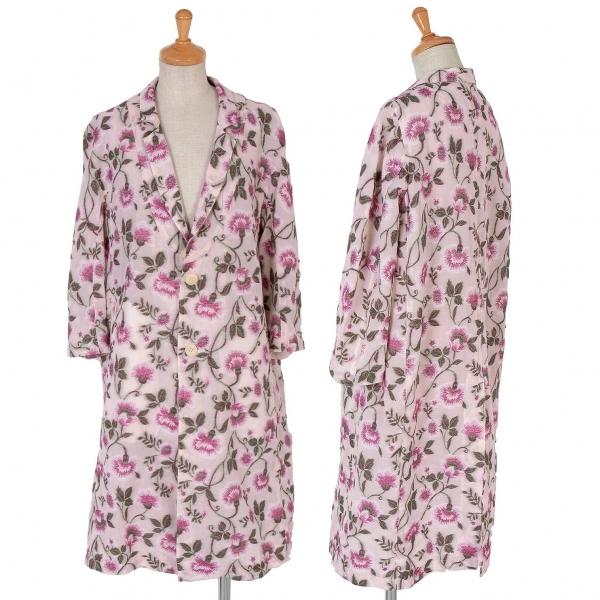 【SALE】ワイズ ピンクY's Pink 花柄ジャガードロングジャケット 濃淡ピンク緑1【中古】 【レディース】