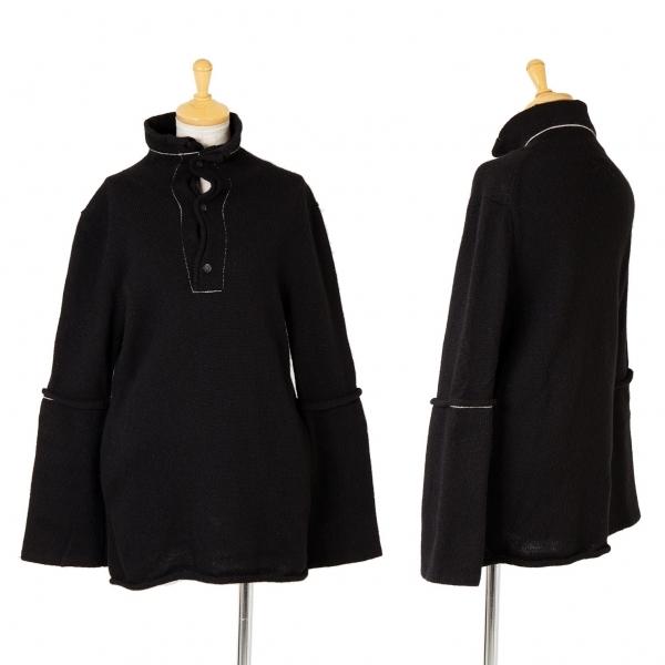 ワイズY's 袖切替フロントボタンニット 黒白3【中古】