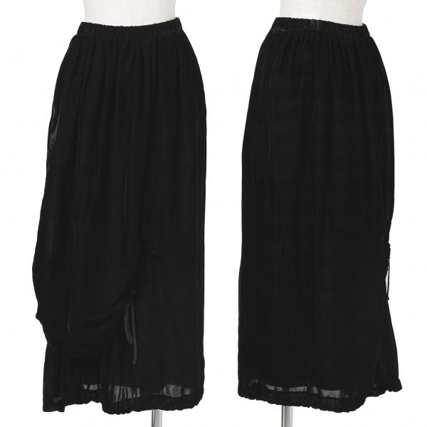 コムデギャルソンCOMME des GARCONS ベロアシャーリングレイヤードスカート 黒M【中古】