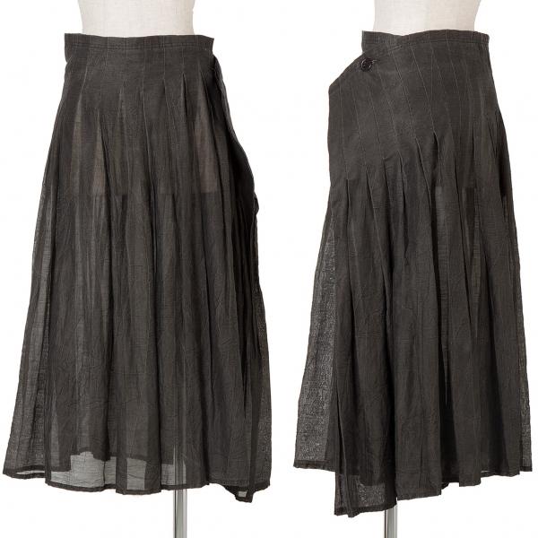 ワイズY's 顔料プリントワッシャープリーツラップスカート グレー2【中古】