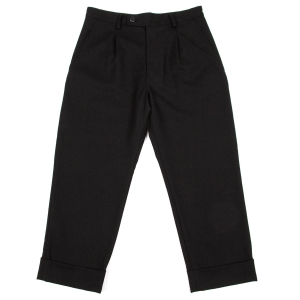 ワイズY's ウールサージ裾ダブルパンツ 黒1【中古】