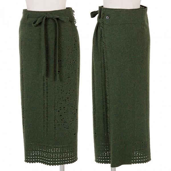 イッセイミヤケハートISSEY MIYAKE HaaT カッティングデザインサイドフリンジラップスカート 杢グリーン2【中古】