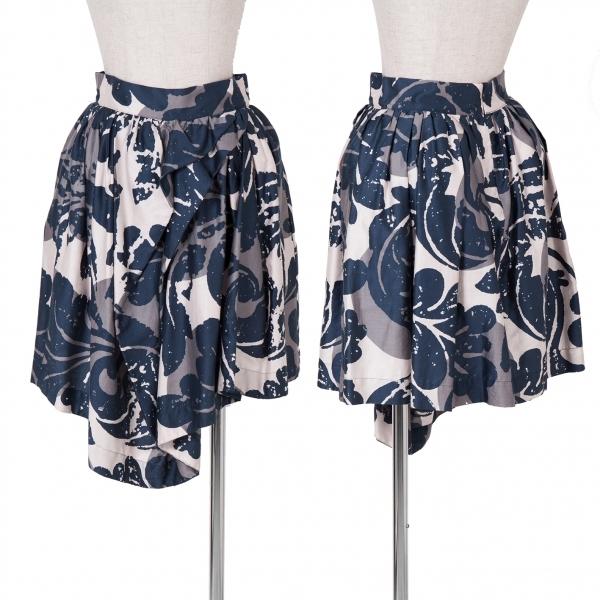 ヴィヴィアンウエストウッド アングロマニアVivienne Westwood ANGLOMANIA プリント変形ギャザースカート 紺グレー42【中古】