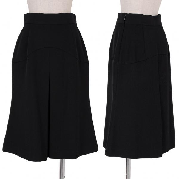 プラダPRADA ウールギャバボックスプリーツデザインスカート 黒42【中古】 【レディース】
