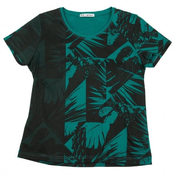 イッセイミヤケISSEY MIYAKE ボタニカルプリントTシャツ エメグリーン黒2【中古】