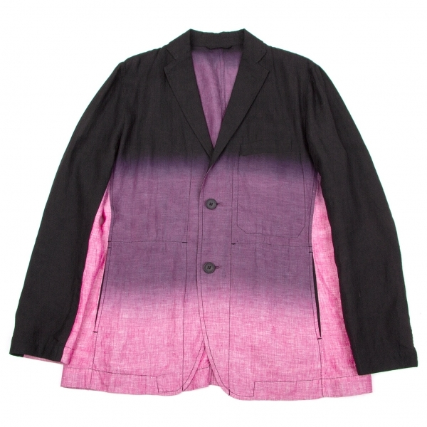イッセイミヤケ メンISSEY MIYAKE MEN グラデーション染めリネンジャケット 黒紫ピンク3【中古】 【メンズ】