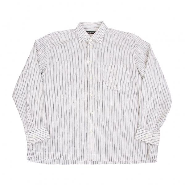 イッセイミヤケ メンISSEY MIYAKE MEN シワ加工ストライプシャツ 白黒3【中古】 【メンズ】