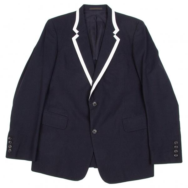 ワイズフォーメンY's for men コットンギャバラムレザーパイピングジャケット 紺白2【中古】 【メンズ】