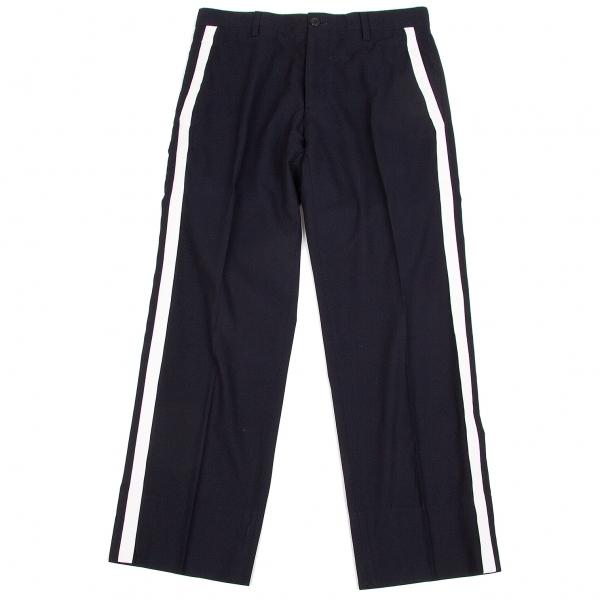 ワイズフォーメンY's for men コットンギャバラムレザー側章パンツ 紺白2【中古】 【メンズ】