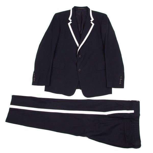 ワイズフォーメンY's for men コットンギャバラムレザーパイピングセットアップスーツ 紺白2【中古】