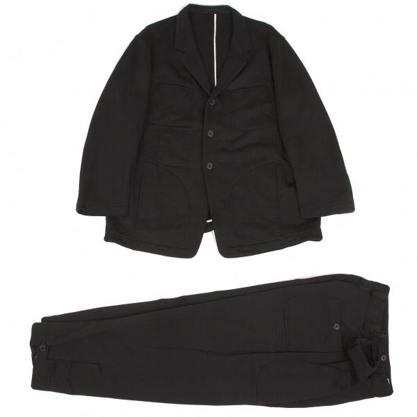 ワイズフォーメンY's for men ポケットデザインジャージテーラードセットアップスーツ 黒白S【中古】 【メンズ】
