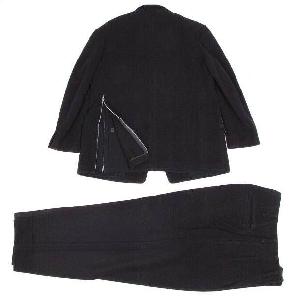 ヨウジヤマモト プールオムYohji Yamamoto POUR HOMME メルトンウールバックジップセットアップスーツ 紺S【中古】 【メンズ】