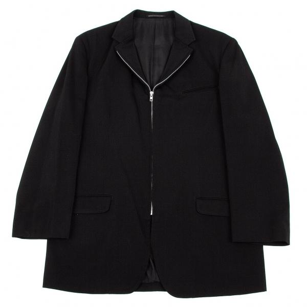 ヨウジヤマモト プールオムYohji Yamamoto POUR HOMME ウールギャバジップデザインジャケット 黒3【中古】