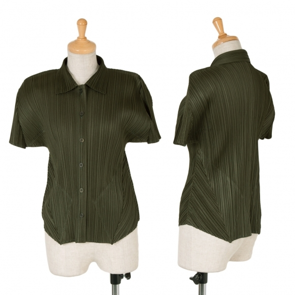 プリーツプリーズPLEATS PLEASE 変形半袖シャツ カーキ3【中古】