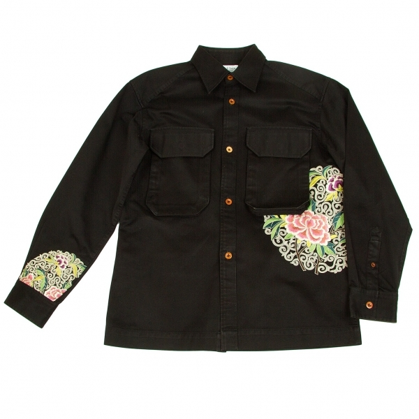 ポールスミス ロンドン Paul Smith LONDON 刺繍シャツジャケット 黒ピンク緑他L【中古】 【メンズ】