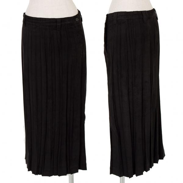 イッセイミヤケ ホワイトレーベルISSEY MIYAKE WHITE LABEL スウェード風プリーツスカート 黒2【中古】