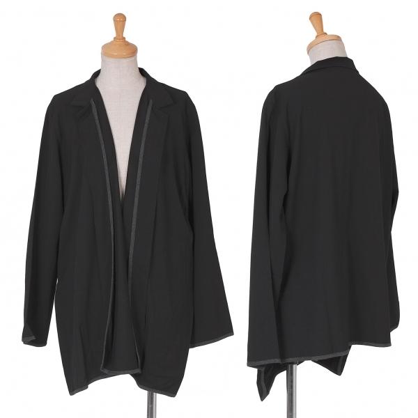 新品!ワイズY's ウールギャバパイピングボタンレスジャケット 黒3