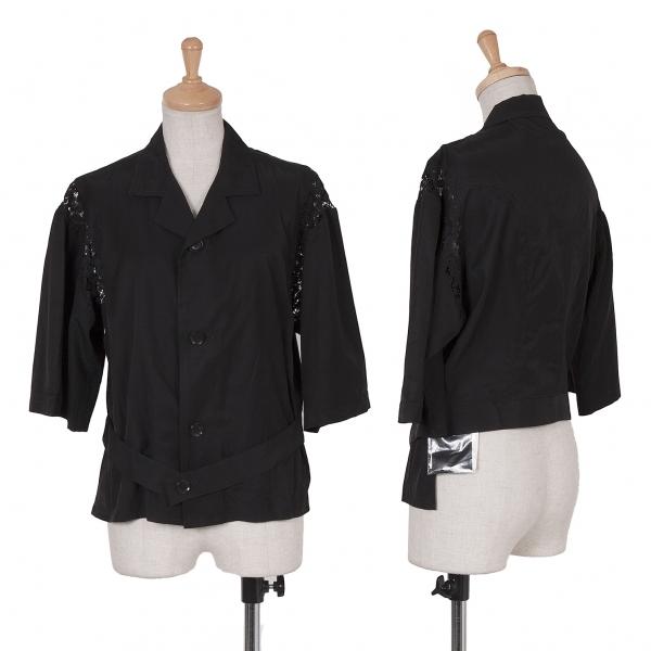 新品!ワイズY's レース切替オープンカラーシャツ 黒2 【レディース】