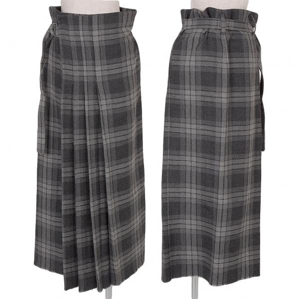 ワイズY's タータンチェックキルトスカート 濃淡グレー3【中古】