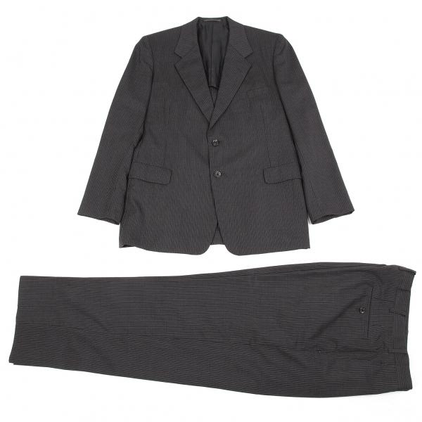 ワイズフォーメンY's for men ピンストライプ2Bテーラードセットアップスーツ 黒グレー2・3【中古】