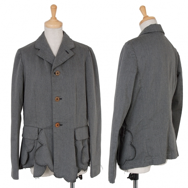 コムコム コムデギャルソンCOMME des GARCONS 裾装飾製品染めポリコットンジャケット グレーS【中古】