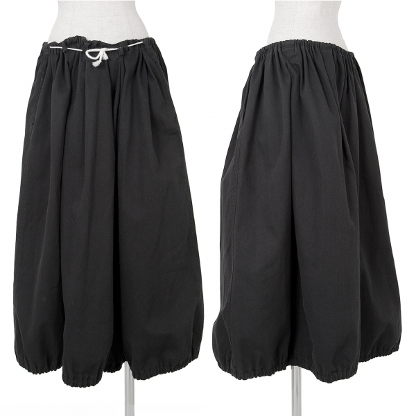 ヨウジヤマモト ファムYohji Yamamoto FEMME コットンギャバ裾ゴムスカート 黒S【中古】