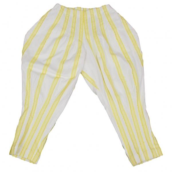 イッセイミヤケISSEY MIYAKE ストライプデザインパンツ 白黄2【中古】