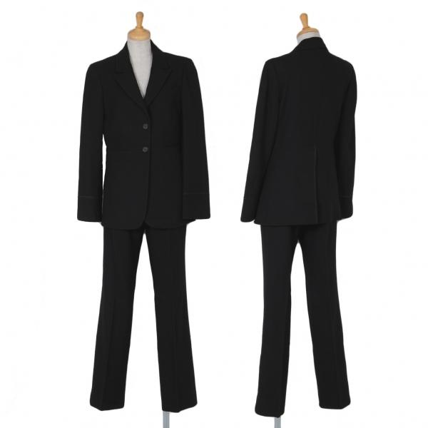 グッチGUCCI ウールピークドラペルセットアップスーツ 黒40【中古】 【レディース】