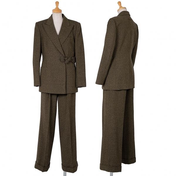 ジャンポールゴルチエ クラシックJean Paul GAULTIER CLASSIQUE ウール装飾ボタンセットアップスーツ ミックス茶40【中古】