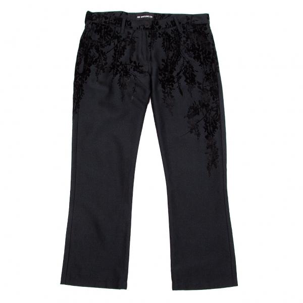 アンドゥムルメステールANN DEMEULEMEESTER 刺繍デザインコットンシルクパンツ 黒36【中古】