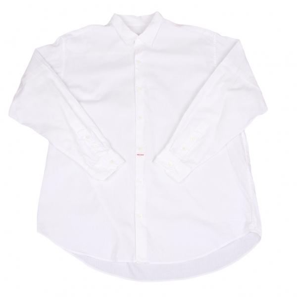 パパスPapas 袖切替ストライプ織りシャツ 白L【中古】 【メンズ】