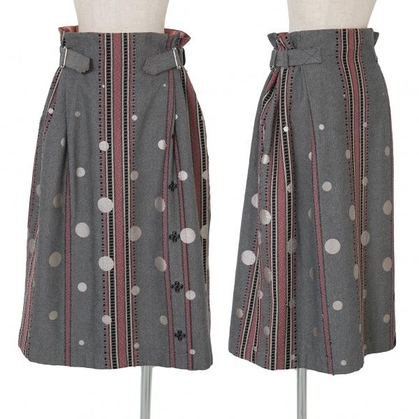 ワイズビスリミY's bis LIMI 織り柄ドットプリントベルテッドスカート 黒白ピンク他S【中古】
