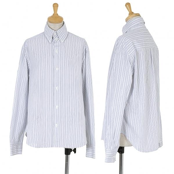 ワイズY's 高襟ストライプボタンダウンシャツ 白黒青他4【中古】