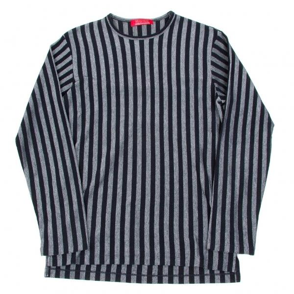 ワイズフォーメンY's for men 赤ラベル コットンポリストライプ織りカットソー 紺杢グレーM位【中古】 【メンズ】