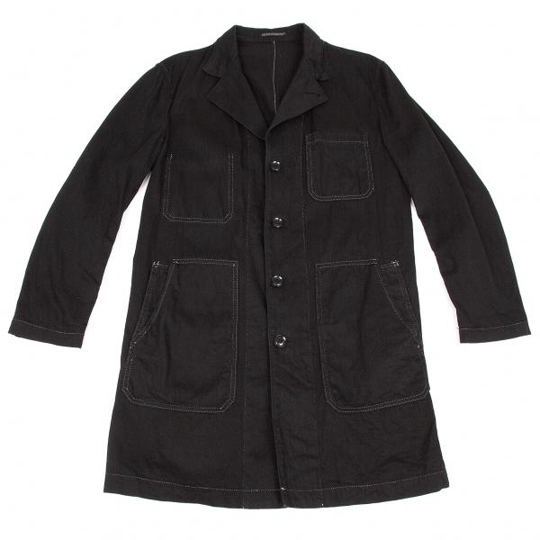ヨウジヤマモト プールオムYohji Yamamoto POUR HOMME コットンステッチデザインロングジャケット 黒白2【中古】 【メンズ】