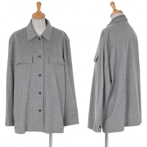 ヨシエイナバyoshie inaba 起毛カシミヤシャツジャケット 杢グレー11【中古】
