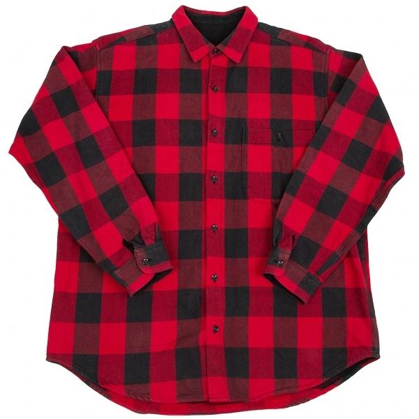 パパスPapas コットンチェックシャツブルゾン 赤黒L【中古】 【メンズ】