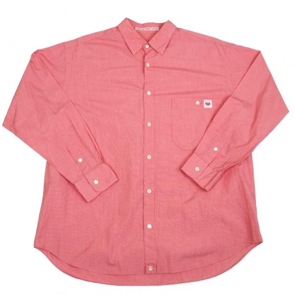 パパスPapas コットンハウンドトゥースシャツ 赤白LL【中古】 【メンズ】
