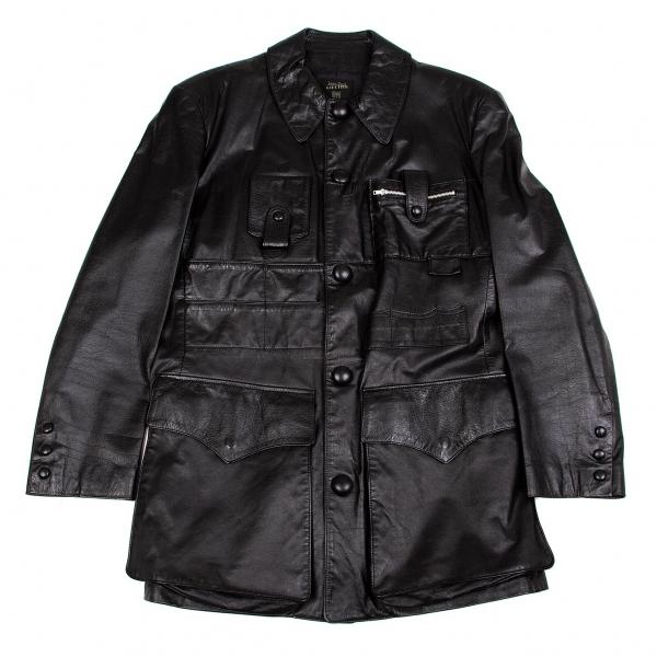 ジャンポールゴルチエ オムJean Paul GAULTIER HOMME デザインポケットレザーロングジャケット 黒48【中古】 【メンズ】