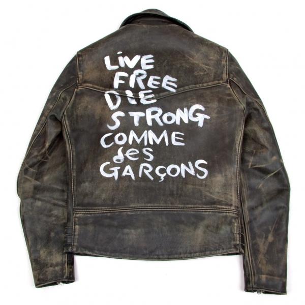 コムデギャルソン×ルイスレザーCOMME des GARCONS×Lewis Leathers ライトニング 青山限定 ライダースジャケット 黒赤36【中古】 【メンズ】