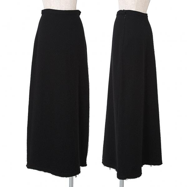 ワイズY's ウール切りっぱなしロングスカート 黒2【中古】 【レディース】