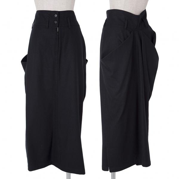 ワイズY's ウールバックドレープポケットスカート 濃紺M位【中古】 【レディース】