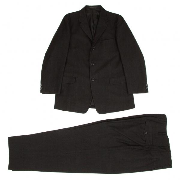 ヨウジヤマモト コスチュームドオムYohji Yamamoto COSTUME D' HOMME ウールコットンセットアップスーツ 杢黒3【中古】