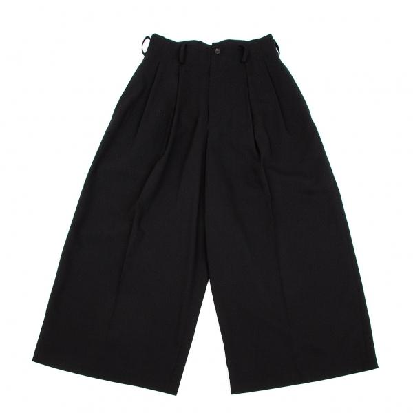 ワイズY's ウールポリツータックワイドパンツ 黒M位【中古】