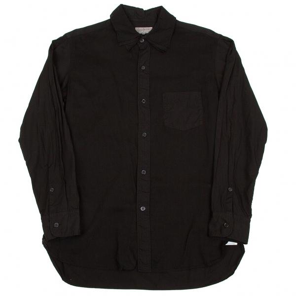 新品!ヨウジヤマモト プールオム Yohji Yamamoto POUR HOMME 3重襟パッカリング長袖コットンシャツ 黒3 【メンズ】