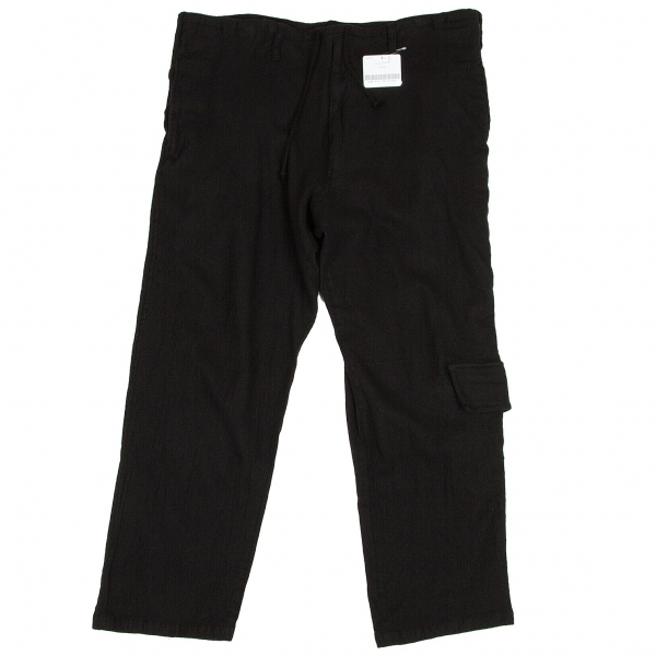 新品!ヨウジヤマモト プールオム Yohji Yamamoto POUR HOMME 紐ウエスト製品染めウールポケットパンツ 黒3 【メンズ】