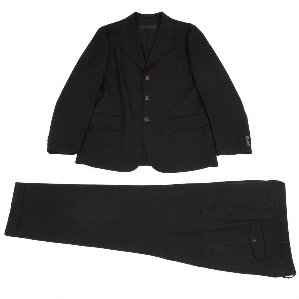 コムデギャルソン オムCOMME des GARCONS HOMME ウールギャバビッグラペルセットアップスーツ 黒L【中古】 【メンズ】