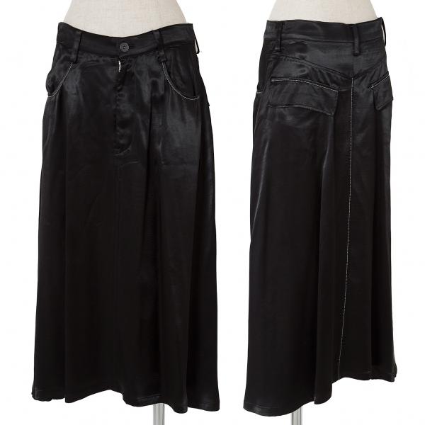 ワイズY's レーヨンサテンステッチデザインスカート 黒1【中古】 【レディース】