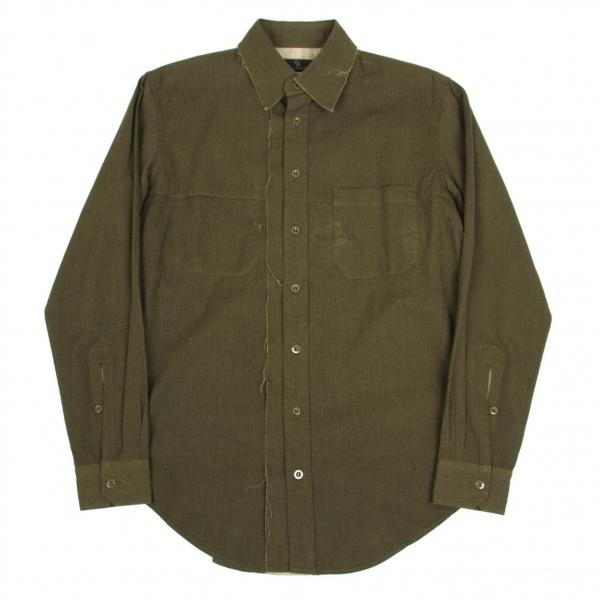 ワイズフォーメンY's for men 断ち切りデザインシャツ カーキ3【中古】 【メンズ】