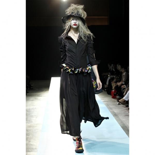 ヨウジヤマモト ファムYohji Yamamoto FEMME コットン袖デザインシャツ 黒2【中古】 【レディース】